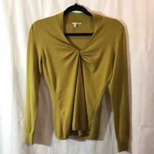 Halogen Mustard V-Neck Sweater Size Small Petite